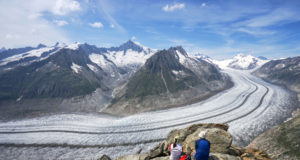 Panoramic view of Great Aletsch glacier from Eggishorn in Switzerland. Great Aletsch glacier, listed as a UNESCO World Heritage, is the largest glacier in Europe.
