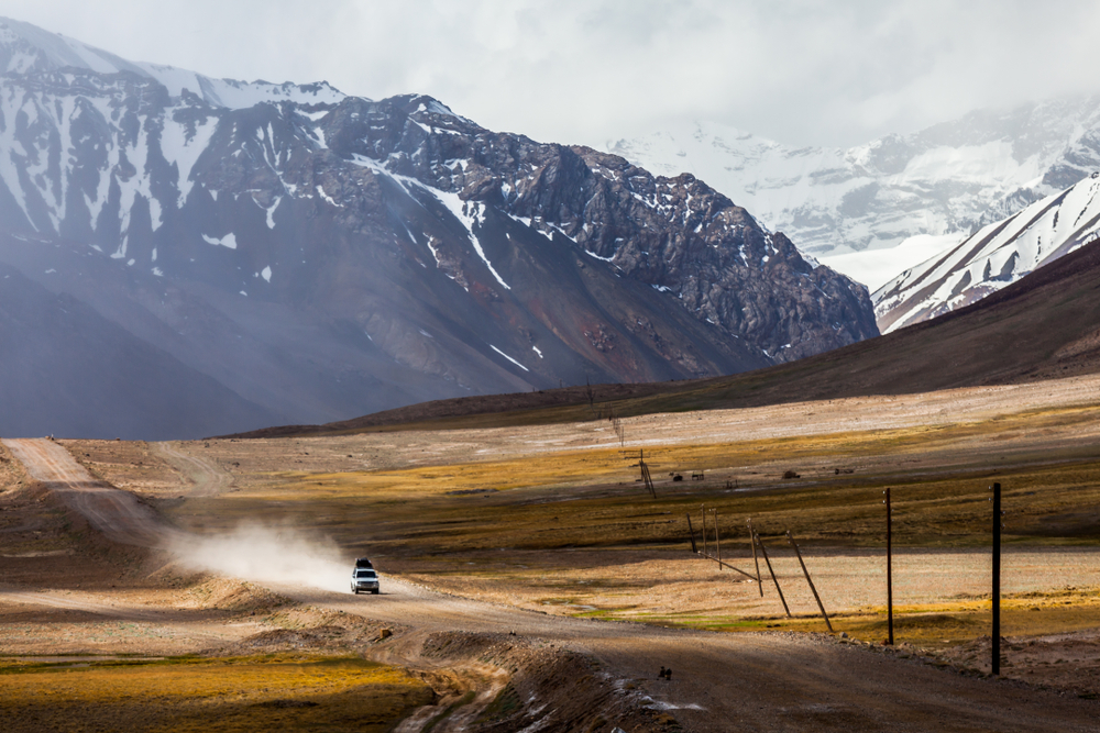 KARAKUL, TAJIKISTAN - CIRCA JUNE 2017: Beautiful view of Pamir Highway in Tajikistan circa June 2017 in Karakul.