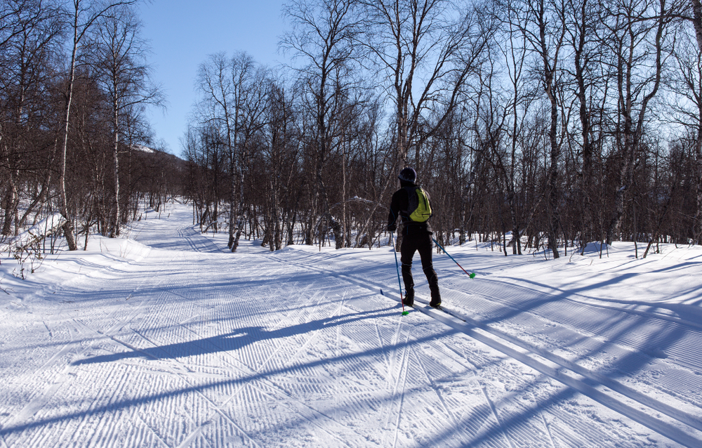 HEMAVAN, SWEDEN ON MARCH 15. View of a cross-country track this side a forest and mountains on March 15, 2018 in Hemavan, Sweden. Bright sunshine. Unidentified person.