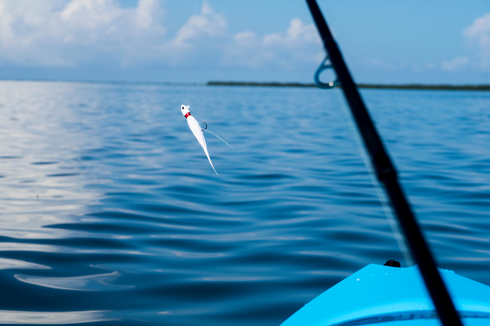Fishing lure hangs with kayak fishing in Florida waters near sanibel and Captiva Island