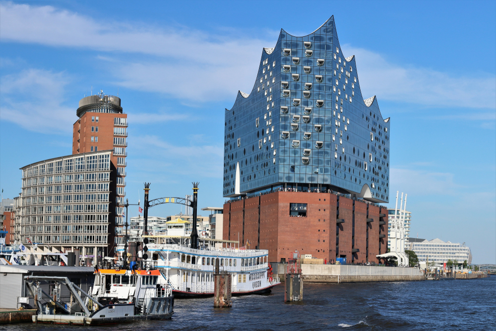 HAMBURG, GERMANY - July 3, 2018, The Elbphilharmonie (Elbe Philharmonic Hall) in the HafenCity of Hamburg.