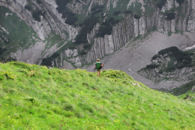 Young woman enjoying nature while hiking on Durmitor mountains, Montenegro