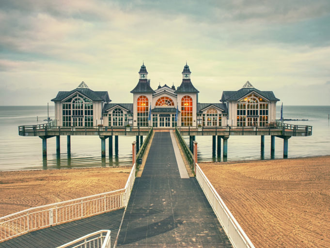 The Pier of Sellin on Ruegen Island, January 27th 2018, Mecklenburg-Vorpommern region ,Mecklenburg Coast, Baltic Sea, Germany,