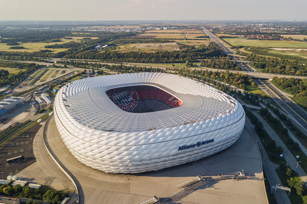 Germany, Munich, August 2018 - Aerial view of football stadium Allianz Arena in Munich