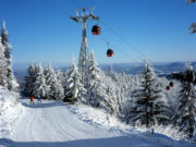 Gondola lift on Jaworzyna Krynicka mountain, Beskid Sadecki, Poland