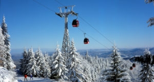 Gondola lift on Jaworzyna Krynicka mountain, Beskid Sadecki, Poland