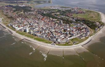 Island Norderney with beach promenade.