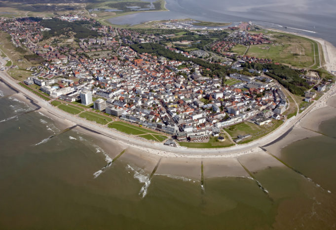 Island Norderney with beach promenade.