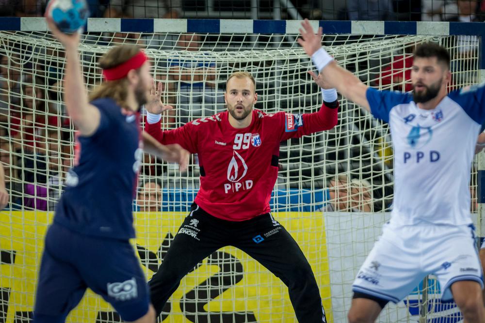 ZAGREB, CROATIA - SEPTEMBER 29, 2018: EHF man's Championship League. PPD Zagreb vs. Paris Saint-Germain. In action KASTELIC Urh (99)