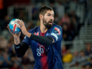 ZAGREB, CROATIA - SEPTEMBER 29, 2018: EHF man's Championship League. PPD Zagreb vs. Paris Saint-Germain. In action KARABATIC Nikola (44)