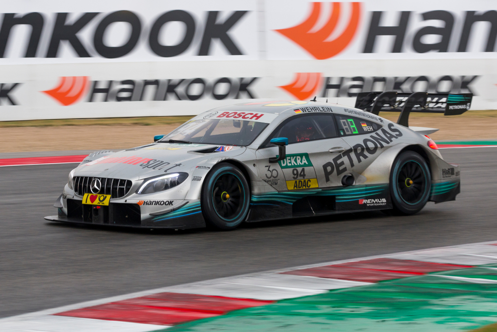 Misano Adriatico, Italy - August 25, 2018: A Mercedes-AMG C 63 DTM of Mercedes-AMG Motorsport PETRONAS Team, driven by Pascal Wehrlein, during race at the DTM Misano in Misano World Circuit.
