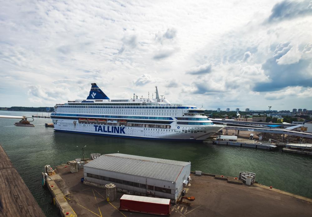 Tallinn, Estonia - July 24, 2018: Tallink cruise ferry is ready to depart from the port of Tallinn, Estonia. The Tallinn ferry port serves many routes to Helsinki, Stockholm, Mariehamn.