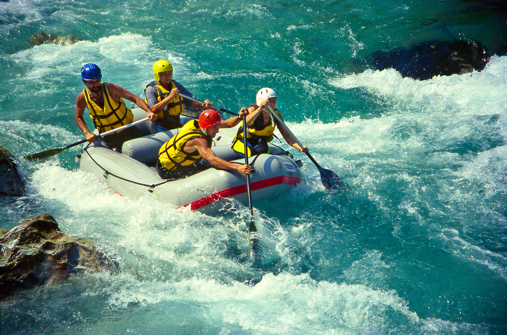 White water rafting on the rapids of river Soca on July 8, 1998 in Triglav national park, Slovenia. Soca is one of the most beautiful rivers of Europe.