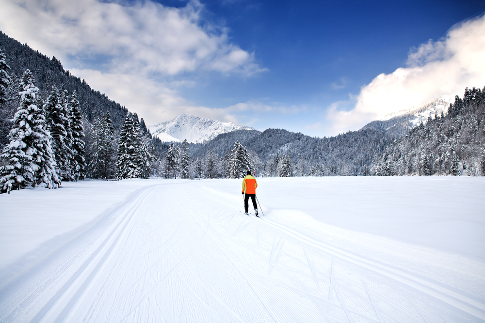 Cross-country skiing trail near Bayrischzell in the Alps, Bavaria, Germany