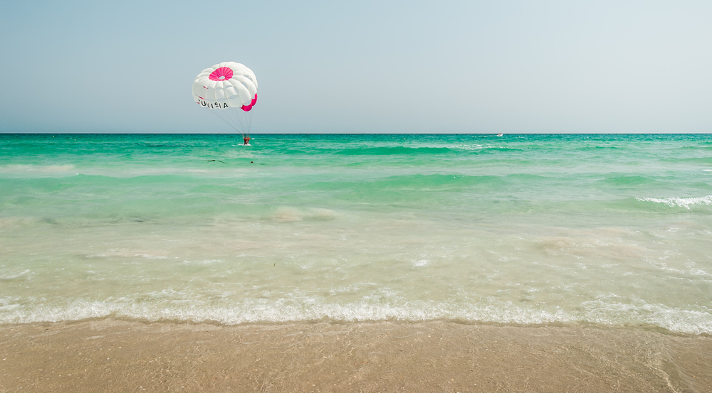 parasailing in summer in Tunisia