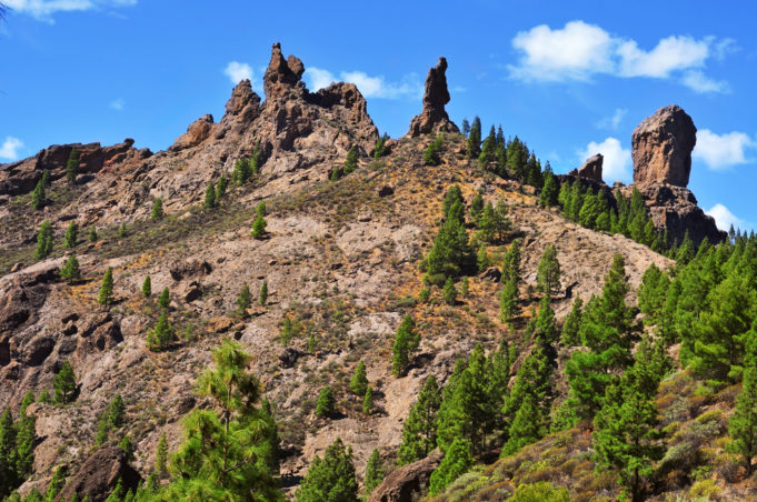 a view of Roque Nublo in Gran Canaria, Spain