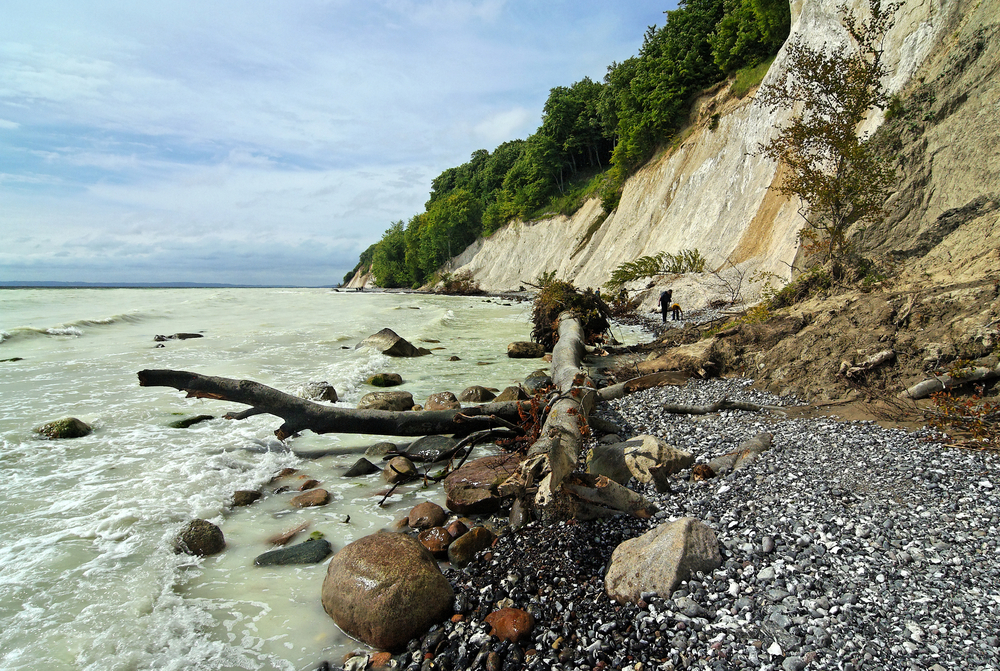 "The famous white Chalk Cliffs called ""Kreidekueste"" at Ruegen, Baltic Sea, Germany,"