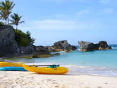 Paddle boats are on sandy beach of Bermuda