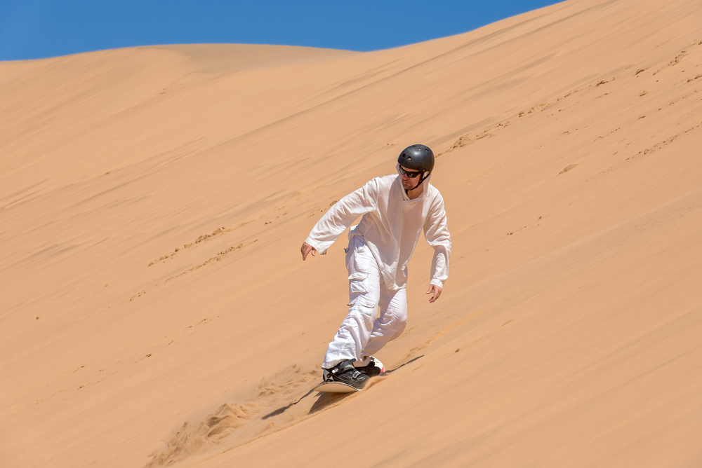 Sandboarder in action