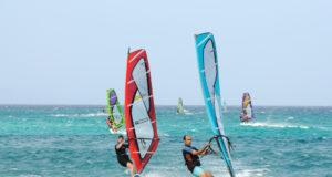 FUERTEVENTURA, SPAIN - JUNE 2: Windsurfing on the atlantic coast of Canary Island Fuerteventura. June 2, 2009 in Fuerteventura, Province of Las Palmas, Spain