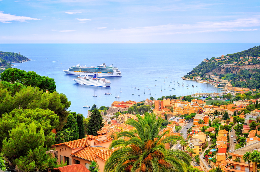 Cruising ships in a lagoon of Villefranche by Nice, France