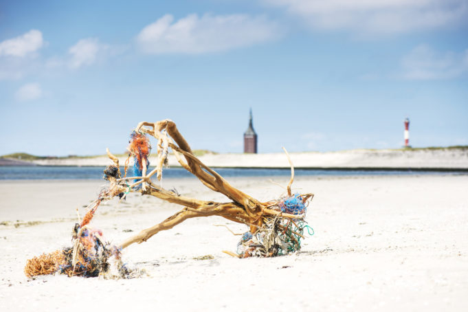 Driftwood with fishing nets logs on beach, Wangerooge, East Frisian Islands, Germany