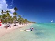 Playa Bavaro, Dominican Republic- April 19, 2015: Preparing for water sport activities