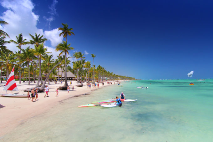Playa Bavaro, Dominican Republic- April 19, 2015: Preparing for water sport activities