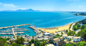 The scenic coastline of Sidi Bou Said with the large haven, full of yachts, Tunisia.