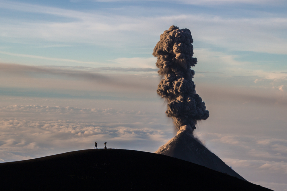 Eruption of Volcano Fuego, Guatemala just after sunrise. Taken from summit of Volcano Acatenango.