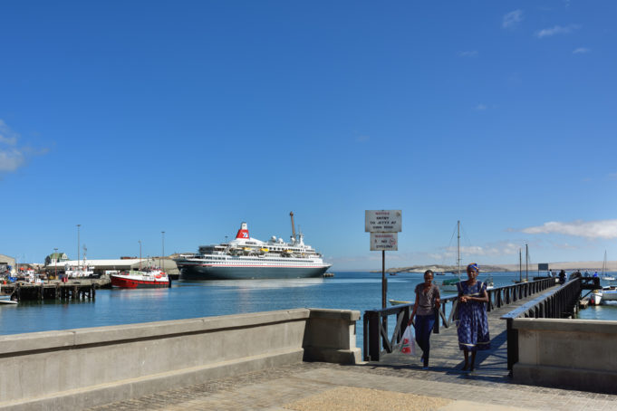 LUDERITZ, NAMIBIA - JAN 27, 2016: Port of Luderitz. Luderitz is popular destination for a many of cruise lines