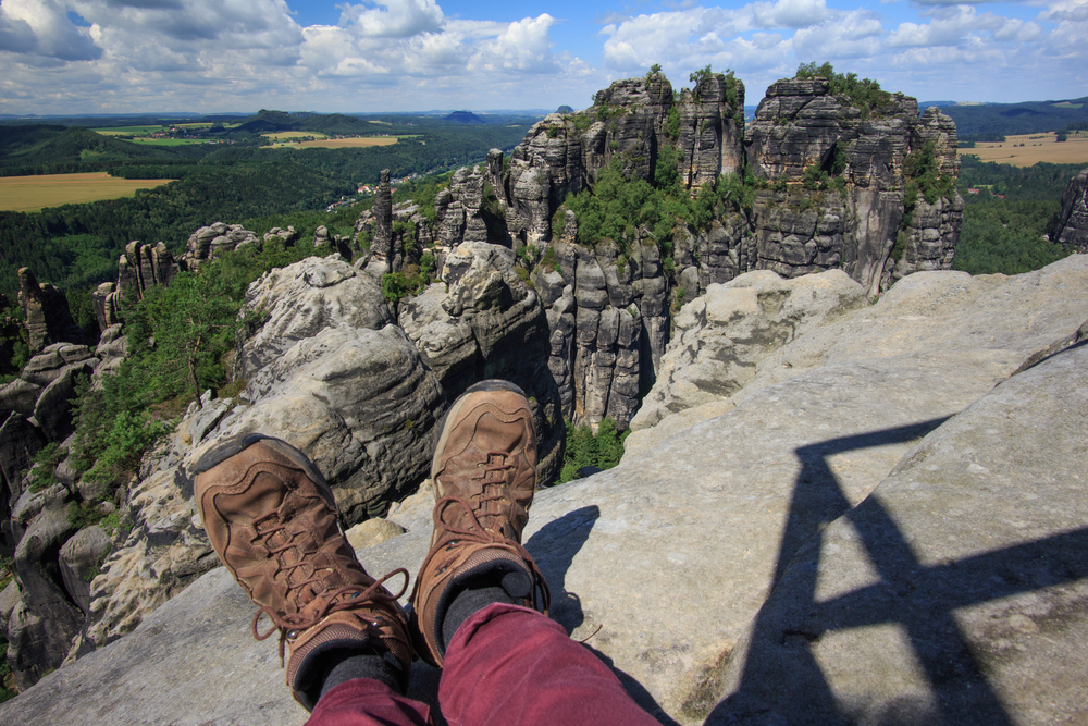 Schrammsteine, view over sandstone cliff into deep Saxony Switzerland,