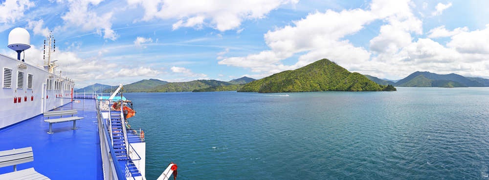 Panorama of the Marlborough Sounds as seen from ferry between north and south island. Marlborough Sounds are extensive network of sea-drowned valleys at the north end of the South Island, New Zealand.