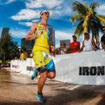 MIAMI, FL OCTOBER 26, 2014: Adriano Sacchetto of Brazil competes during the run stage in the Ironman 70.3 Miami