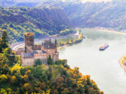 Magnificent Rhine valley with romantic medieval castles. Germany