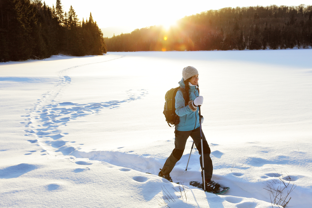 Winter sport activity. Woman hiker hiking with backpack and snowshoes snowshoeing on snow trail forest in Quebec, Canada at sunset. Beautiful landscape with coniferous trees and white snow.
