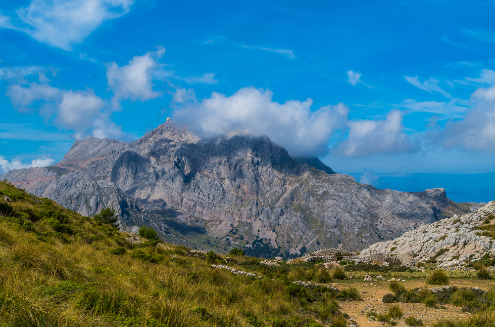 Puig Major with radar station at GR 221 in Tramuntana mountains on Mallorca, Spain