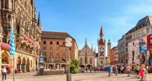 Munich, Bavaria, Germany - September 15, 2016: Old Town Hall at Marienplatz Square.
