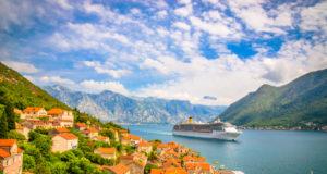 Beautiful mediterranean landscape. Cruise ship near town Perast, Kotor bay (Boka Kotorska), Montenegro.