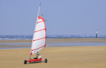 Land sailing on the beach of Ouistreham in the Calvados department in the Basse-Normandie region of France