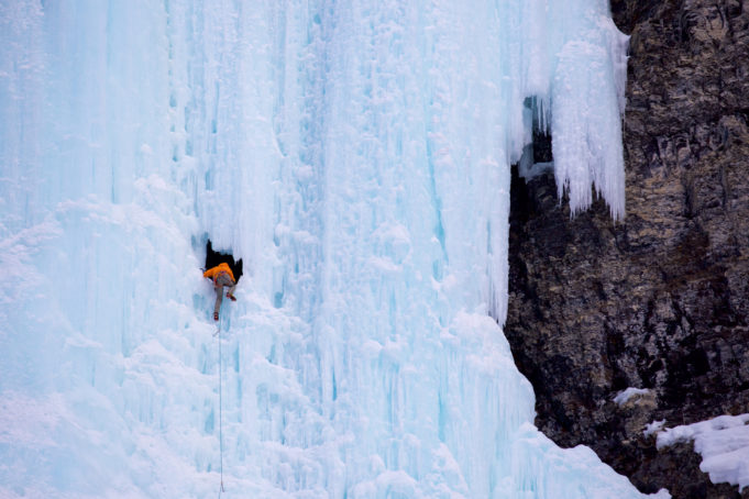 Ice climber in the Canadian Rockies