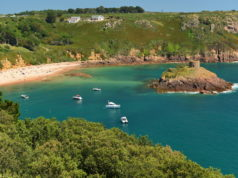 Portelet Bay, Jersey, U.K. Summer beach resort.