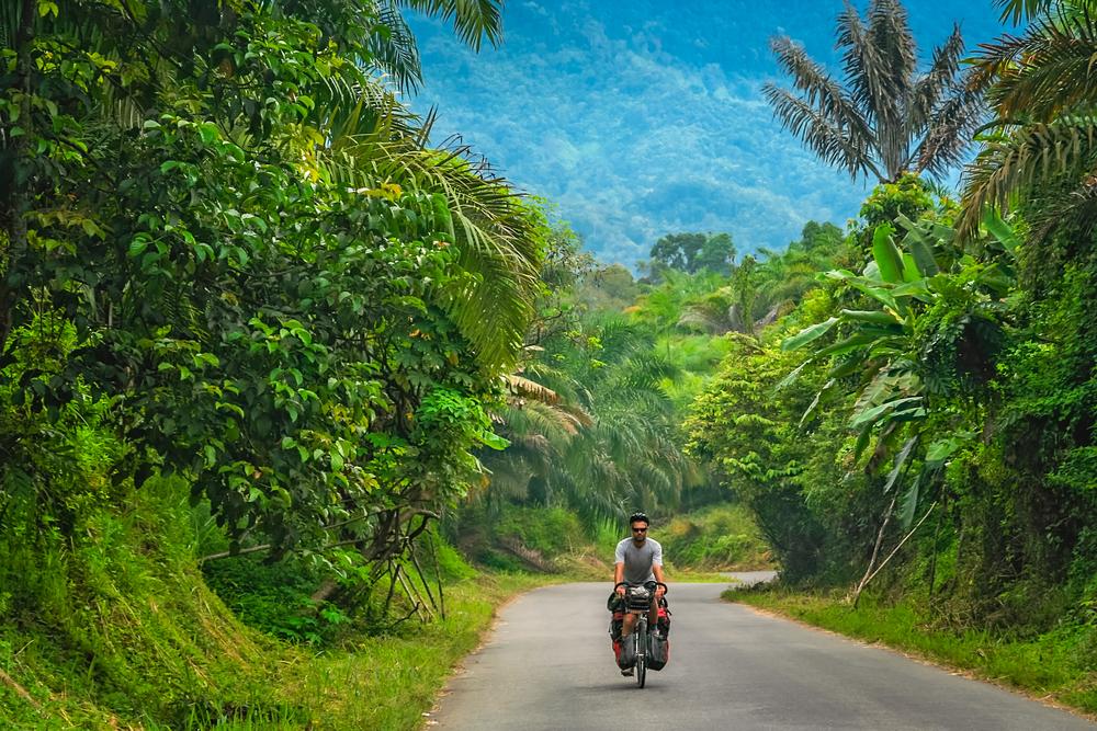 Male cyclist cycling through dense jungle landscape of Sumbava island, Indonesia