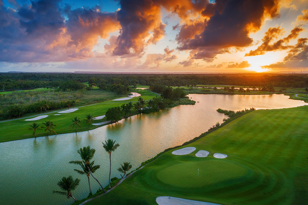 Aerial view of tropical golf course at sunset, Dominican Republic, Punta Cana