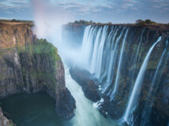 Morning light at Victoria Falls from Zambia looking into Zimbabwe.