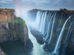 Morning light at Victoria Falls from Zambia looking into Zimbabwe.