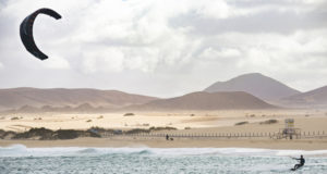 fuerteventura - corralejo - February 17, 2014: athlete in training session at corralejo beach