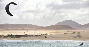 fuerteventura - corralejo - February 17, 2014: athlete in training session at corralejo beach