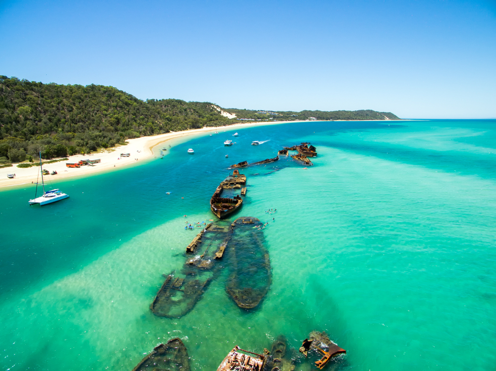 An aerial view of the Shipwrecks near Tangalooma Island Resort on Moreton Island, Queensland, Australia