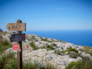 Pointer on the way. Tramuntana. GR221 in mountains of Mallorca.